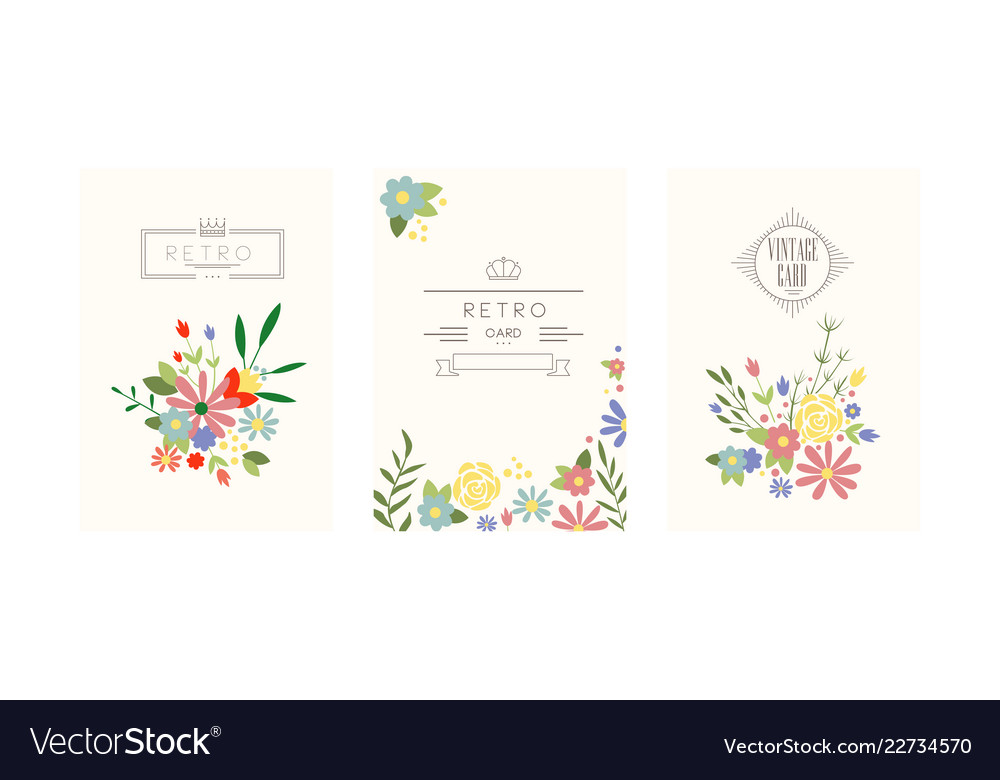 Retro cards with garden flowers floral greeting