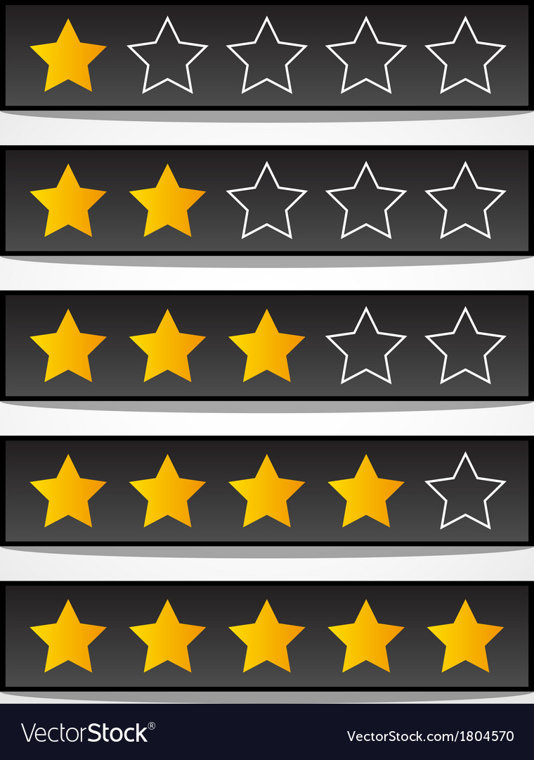 Set of black rating stars vector image