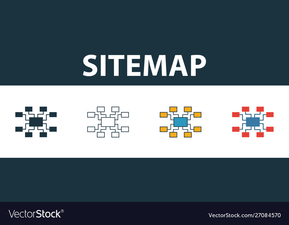 Sitemap icon set four elements in diferent styles