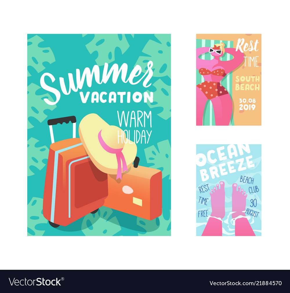 Summer vacation poster flyer invitation template