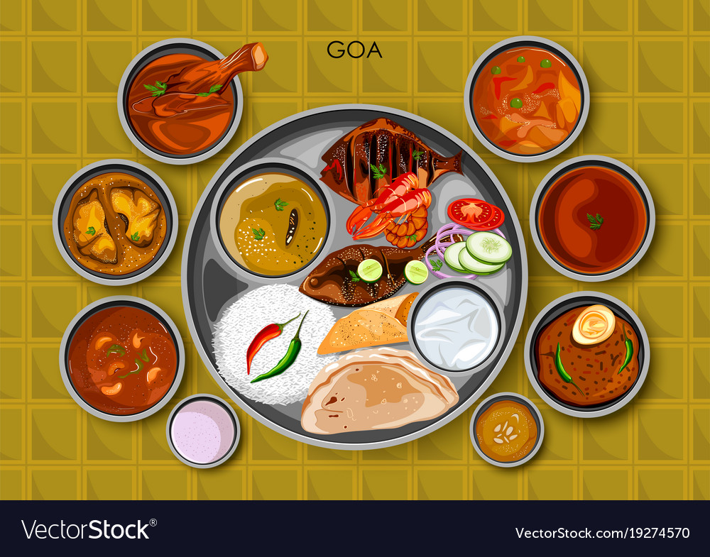 Traditional goan cuisine and food meal thali of vector image forumfinder Images