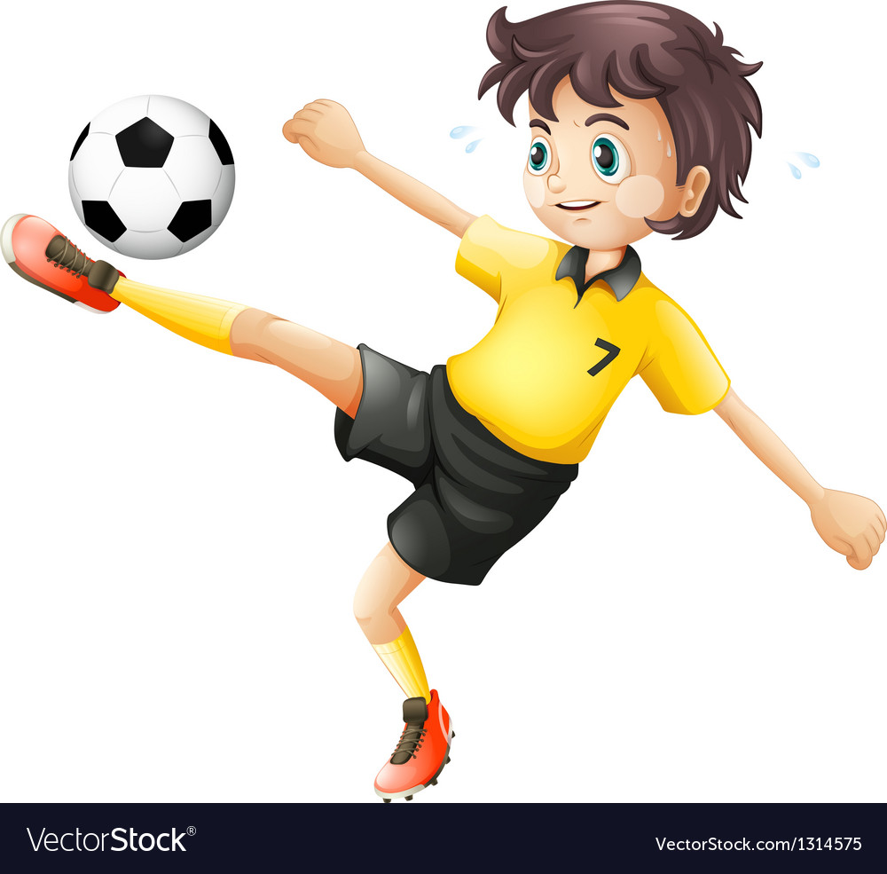 a boy kicking the soccer ball royalty free vector image
