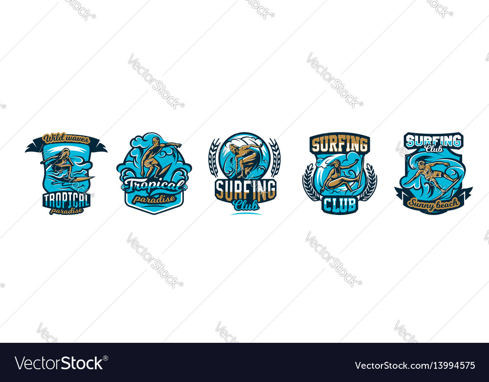 A collection of logos surfing emblems people are