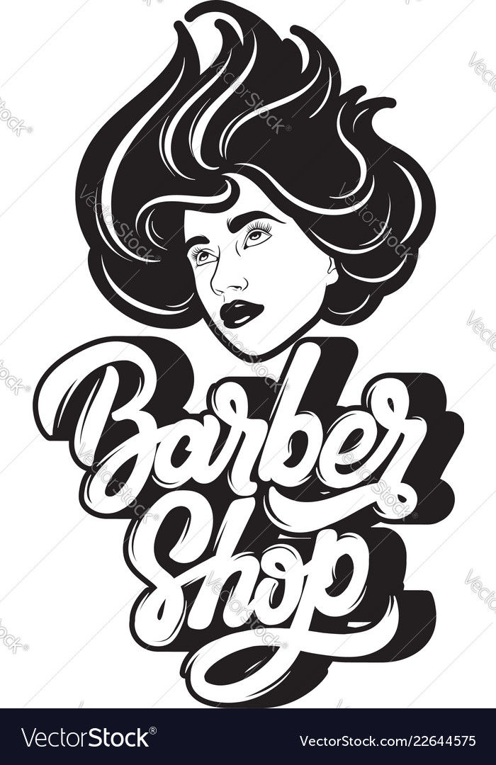Barber shop handwritten lettering hand drawn of