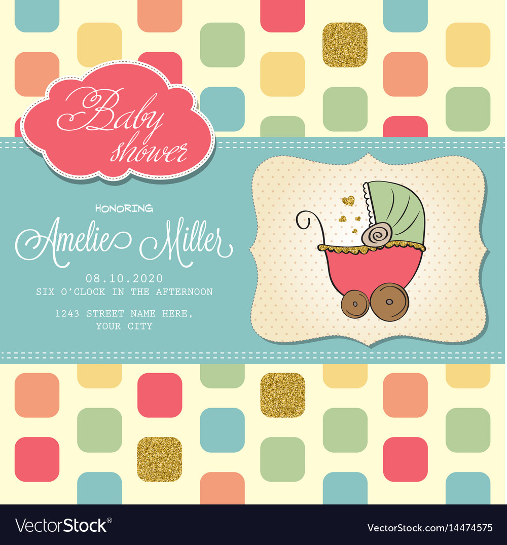Beautiful Baby Shower Card Template With Golden