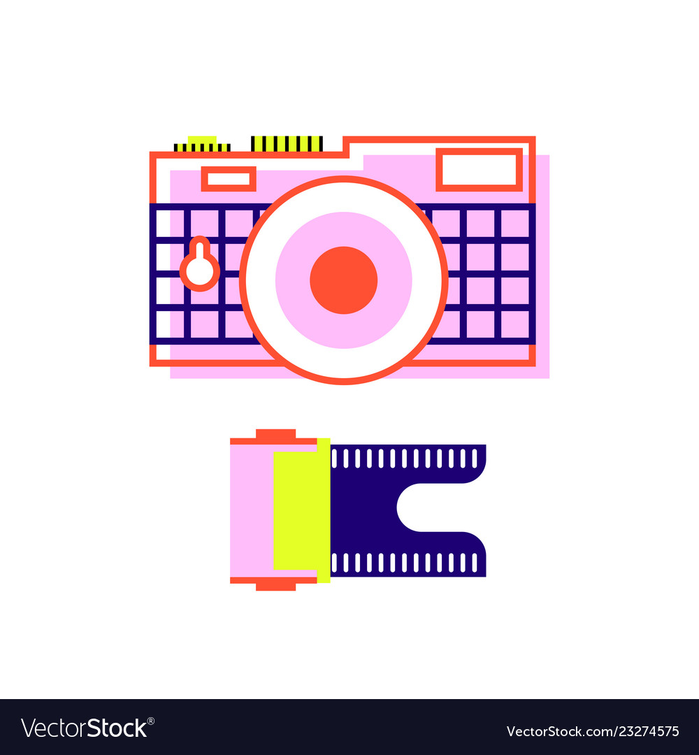 Camera in flat style and film for the camera