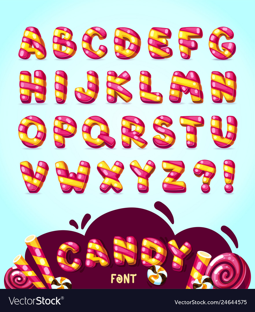 Candy cartoon font vector