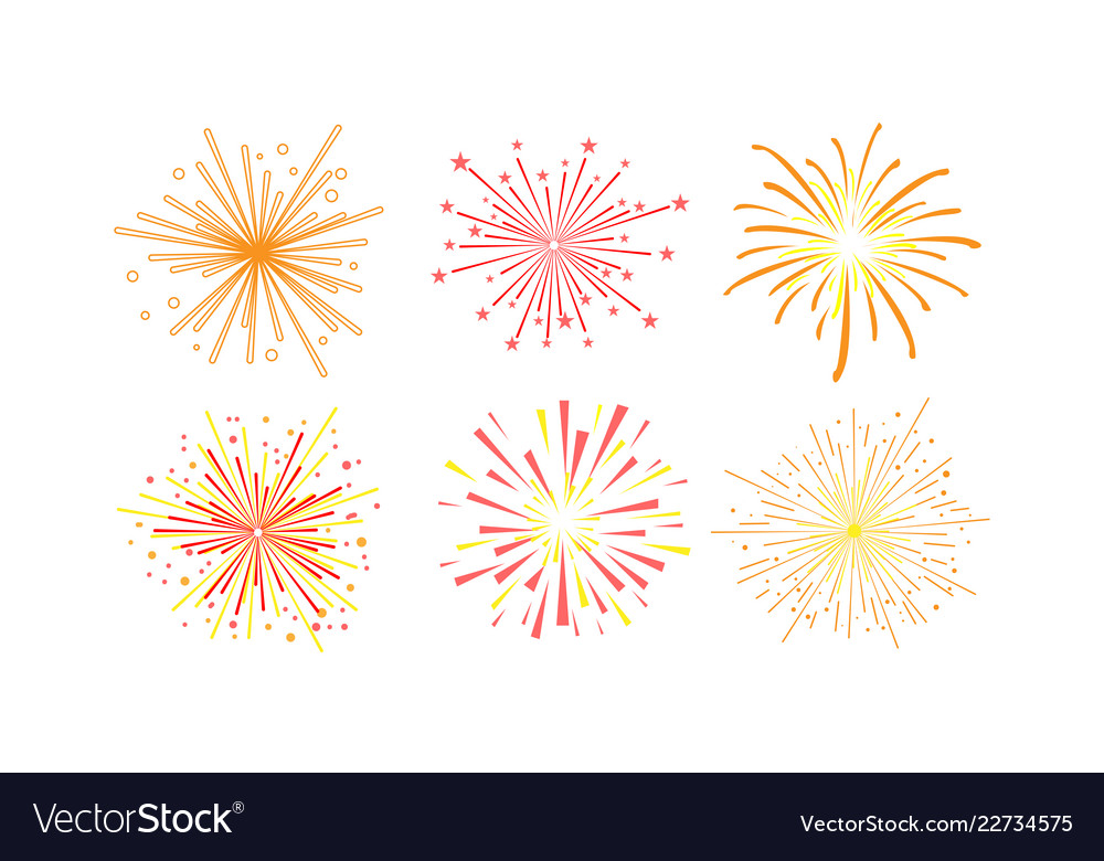 Colorful fireworks set design element can be used