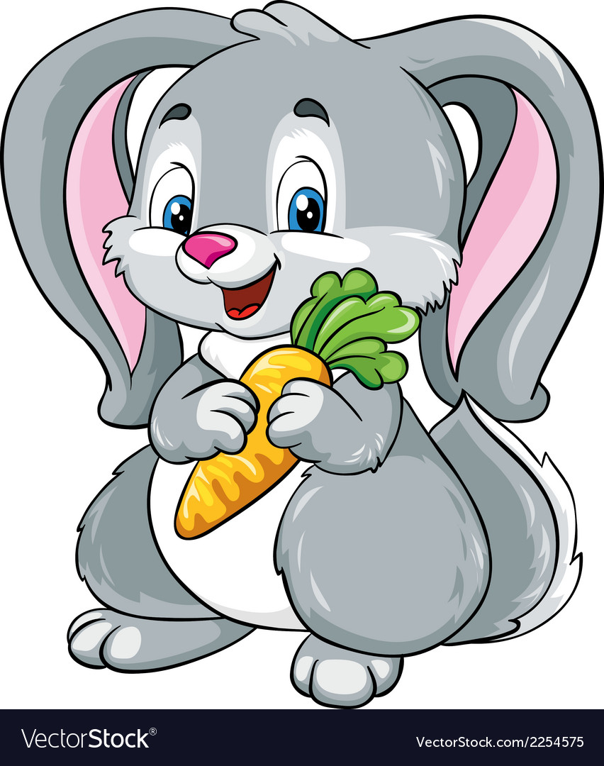 Cute bunny with carrot on a white background vector image
