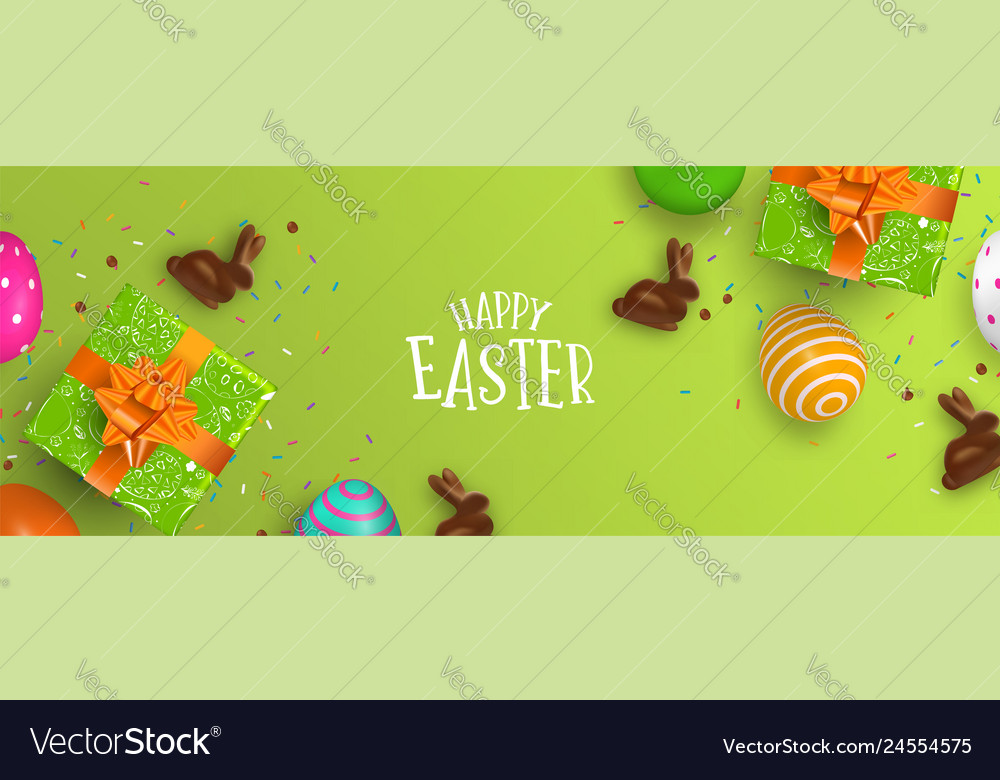 Easter banner chocolate bunny and color eggs