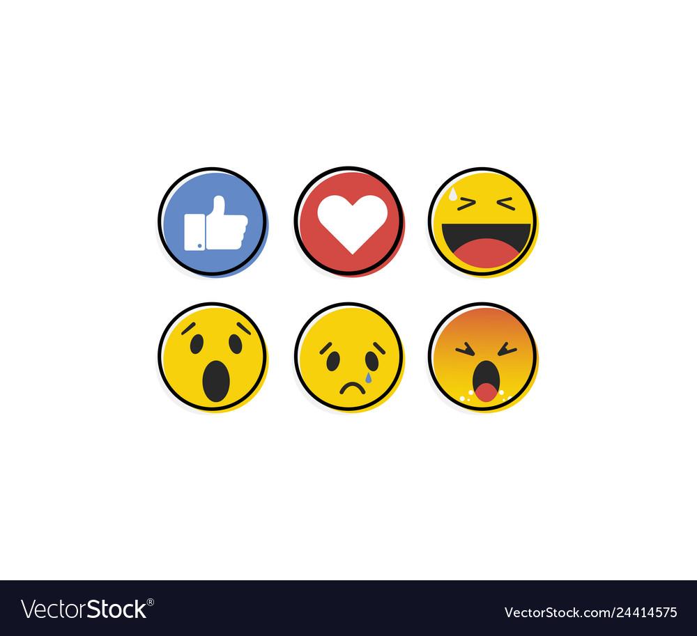 Emoji emoticon in flat style set icons social