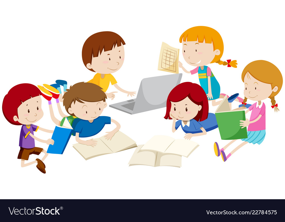 Group Of Children Learning Royalty Free Vector Image