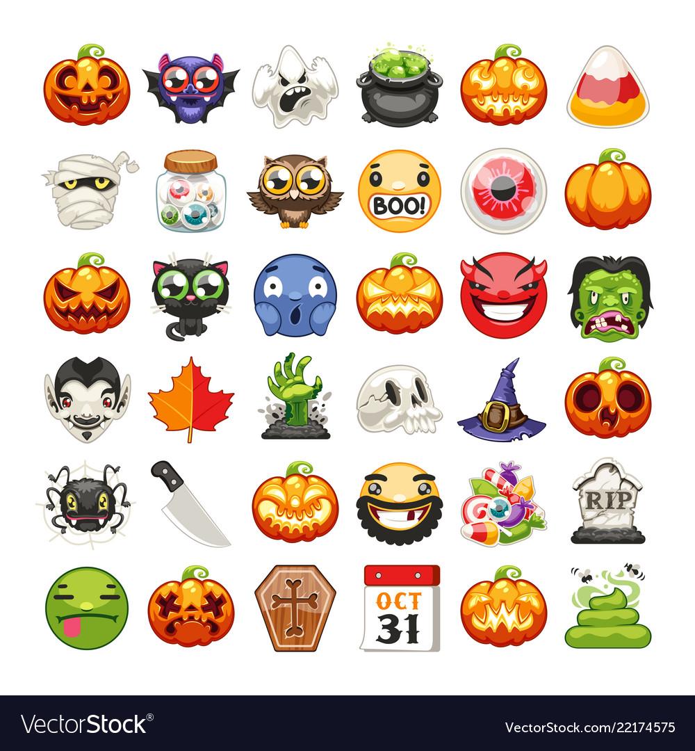 Halloween emojis set flat