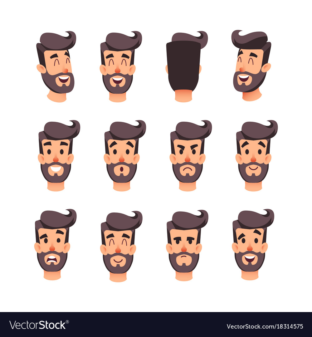 Man s head with different emotions cartoon