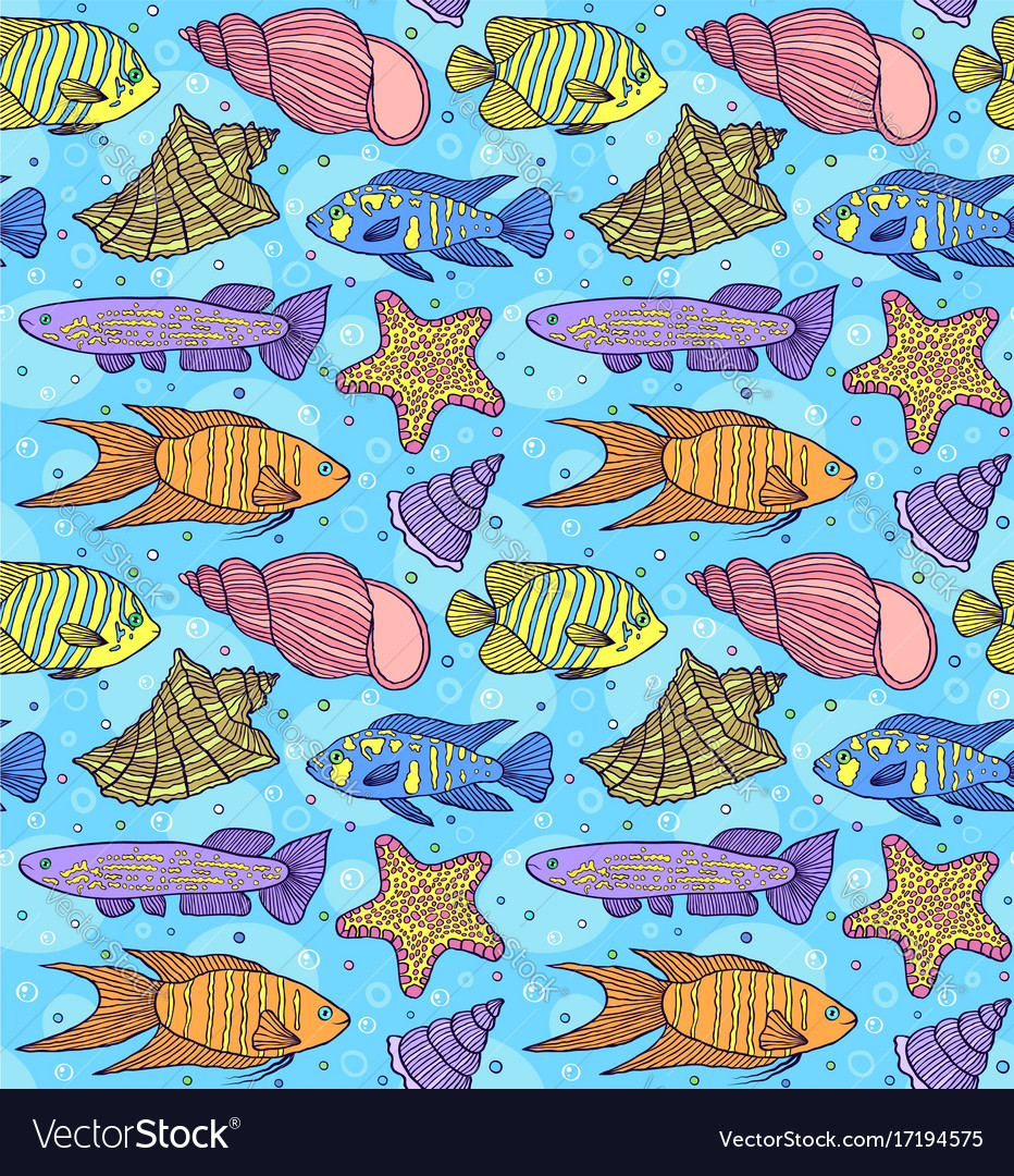 Pattern with fish esand shells vector image
