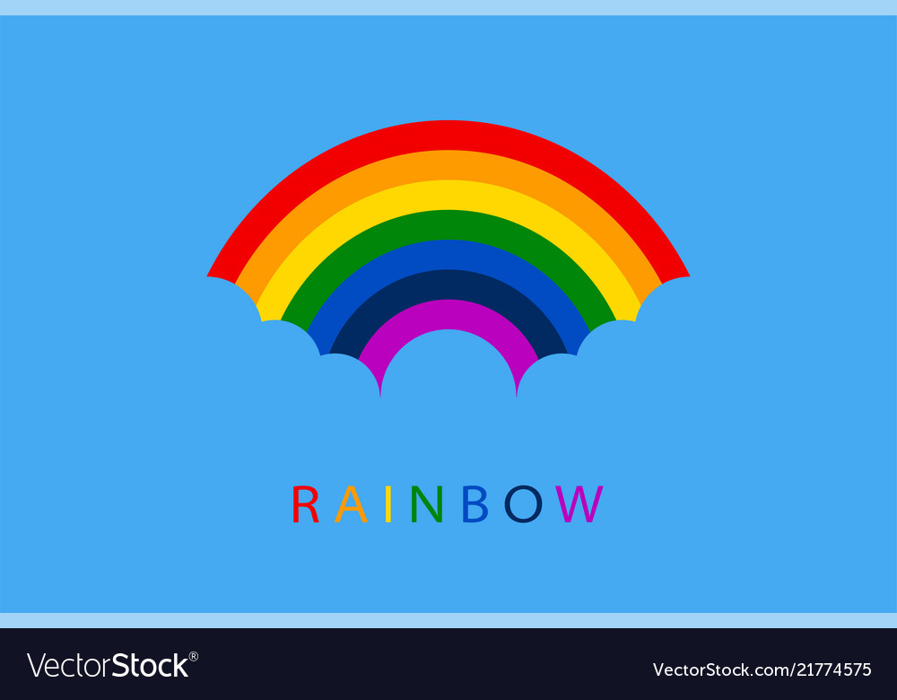 Rainbow with blue clouds on sky background for