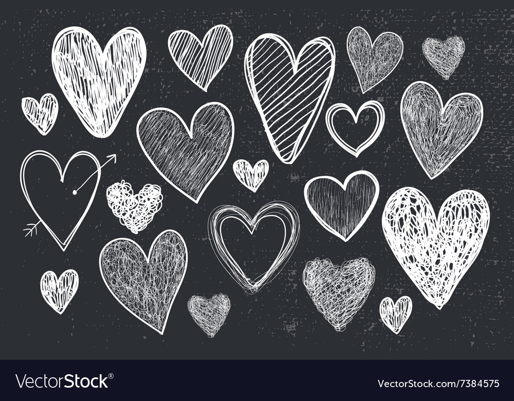 Set of hand drawn doodle hearts black and