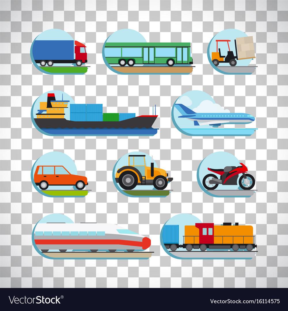 Transportation icons on transparent background