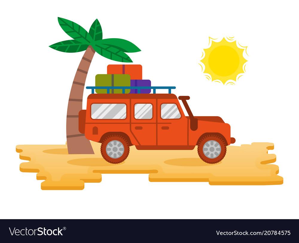 Truck in desert vector image