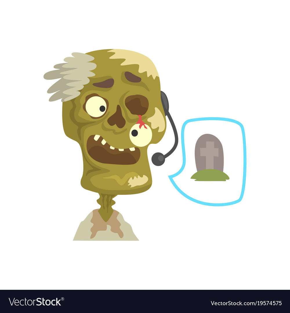 Zombie Support Phone Operator In Headset Cartoon Vector Image