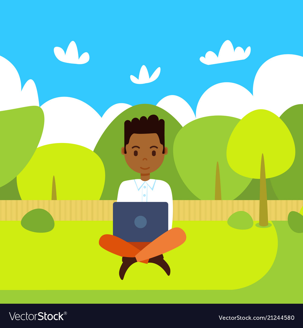 African american man holding laptop working