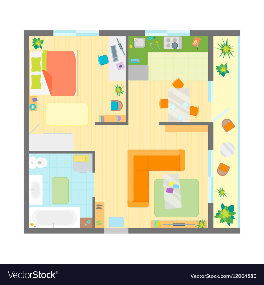 Apartment Floor Plan with Furniture Top View