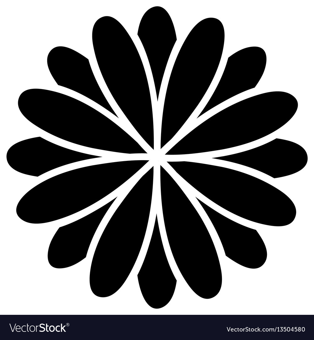 Black Flower Silhouette Stock Vector Illustration Of: Black Silhouette Flower Formed By Petals Set Vector Image