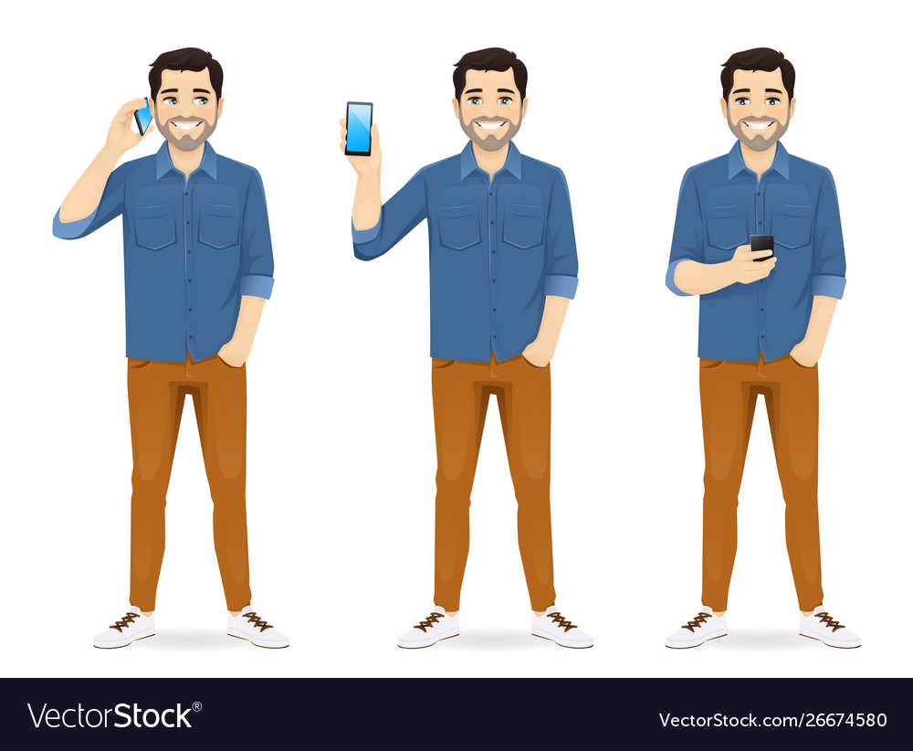 Casual man with phone