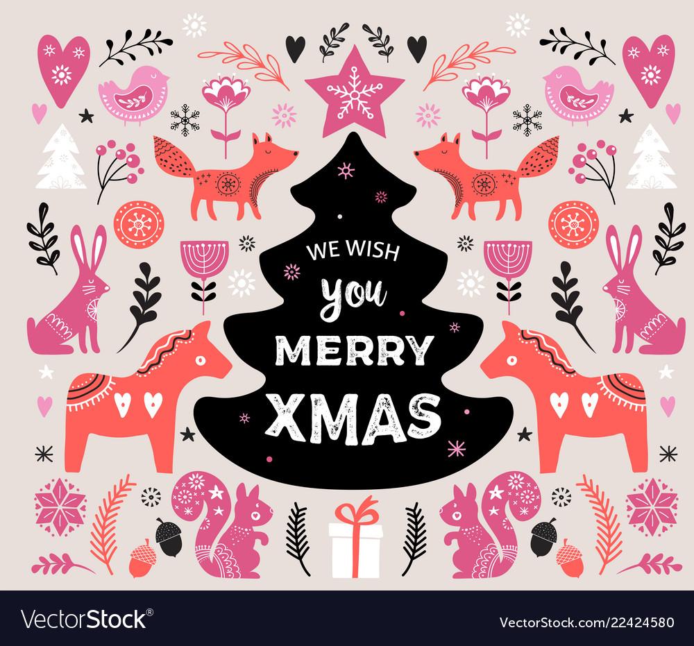 Christmas banner design hand drawn
