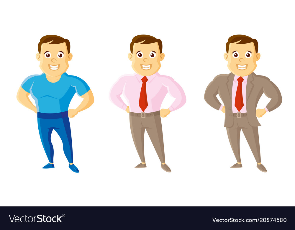 City style men set cartoon character