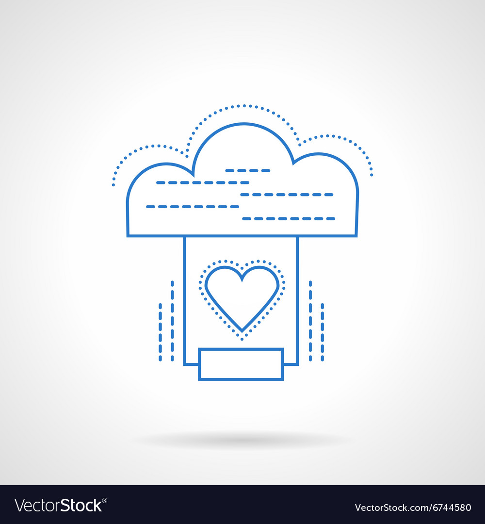 Cloud services blue flat line icon