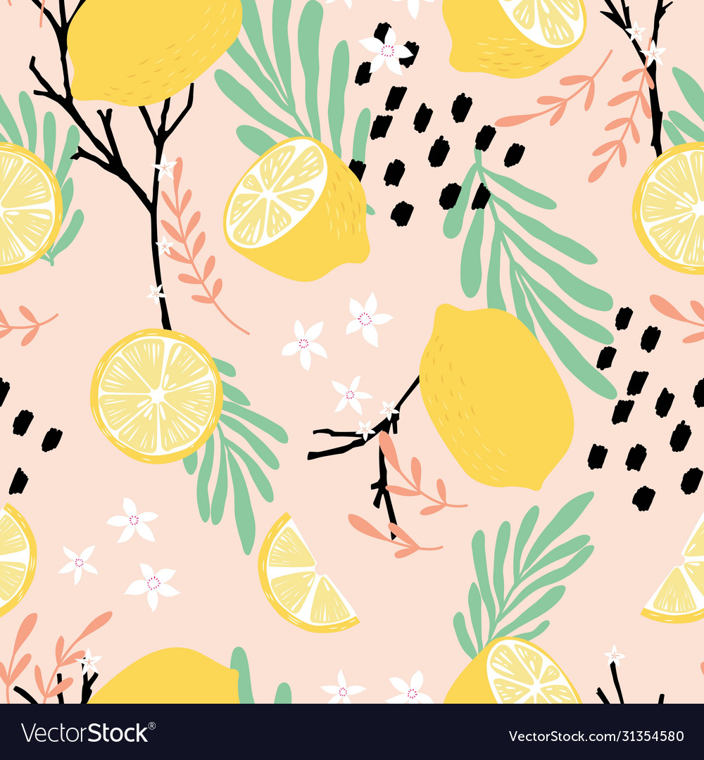 Fruit seamless pattern lemons with branches
