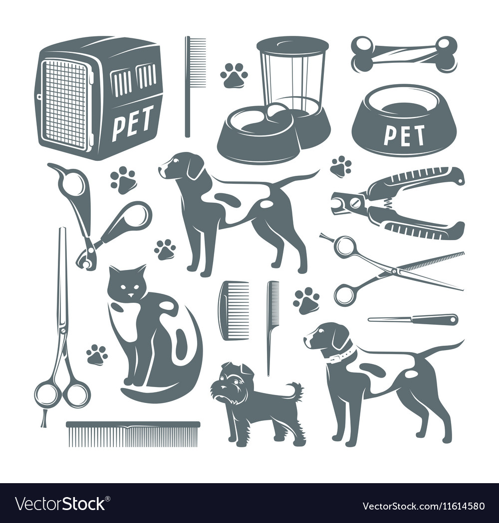 Icons set of pet care items