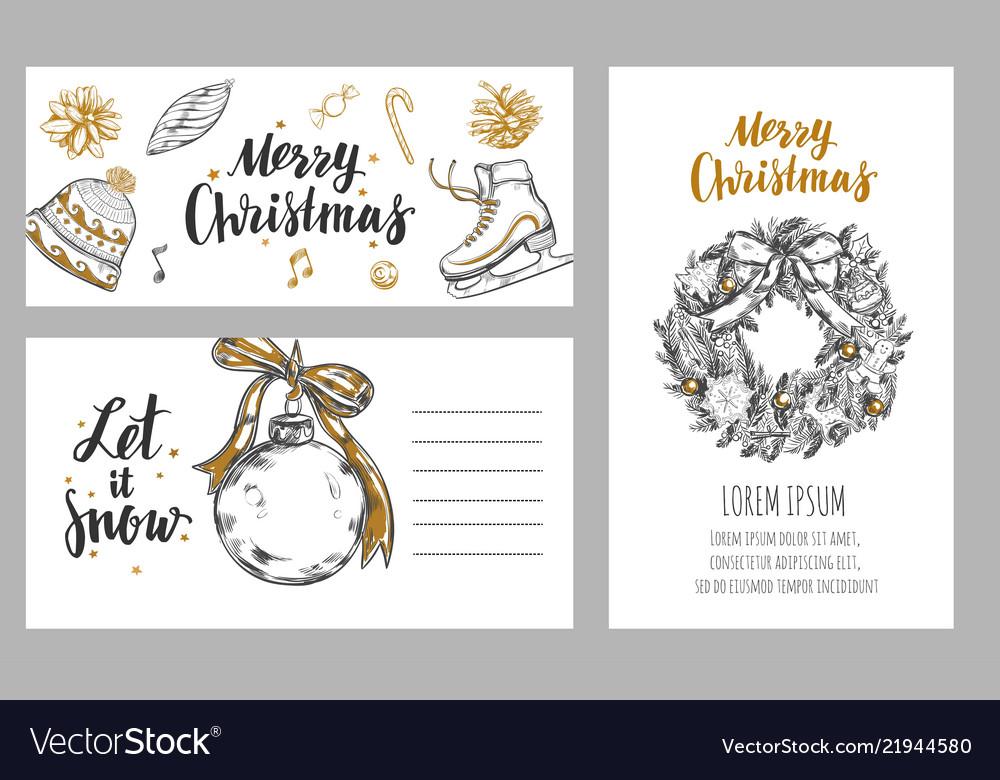Merry christmas festive winter cards design