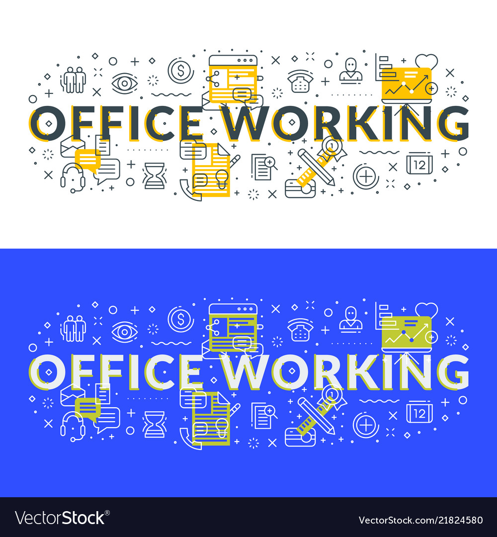 Office working flat line concept for web banner
