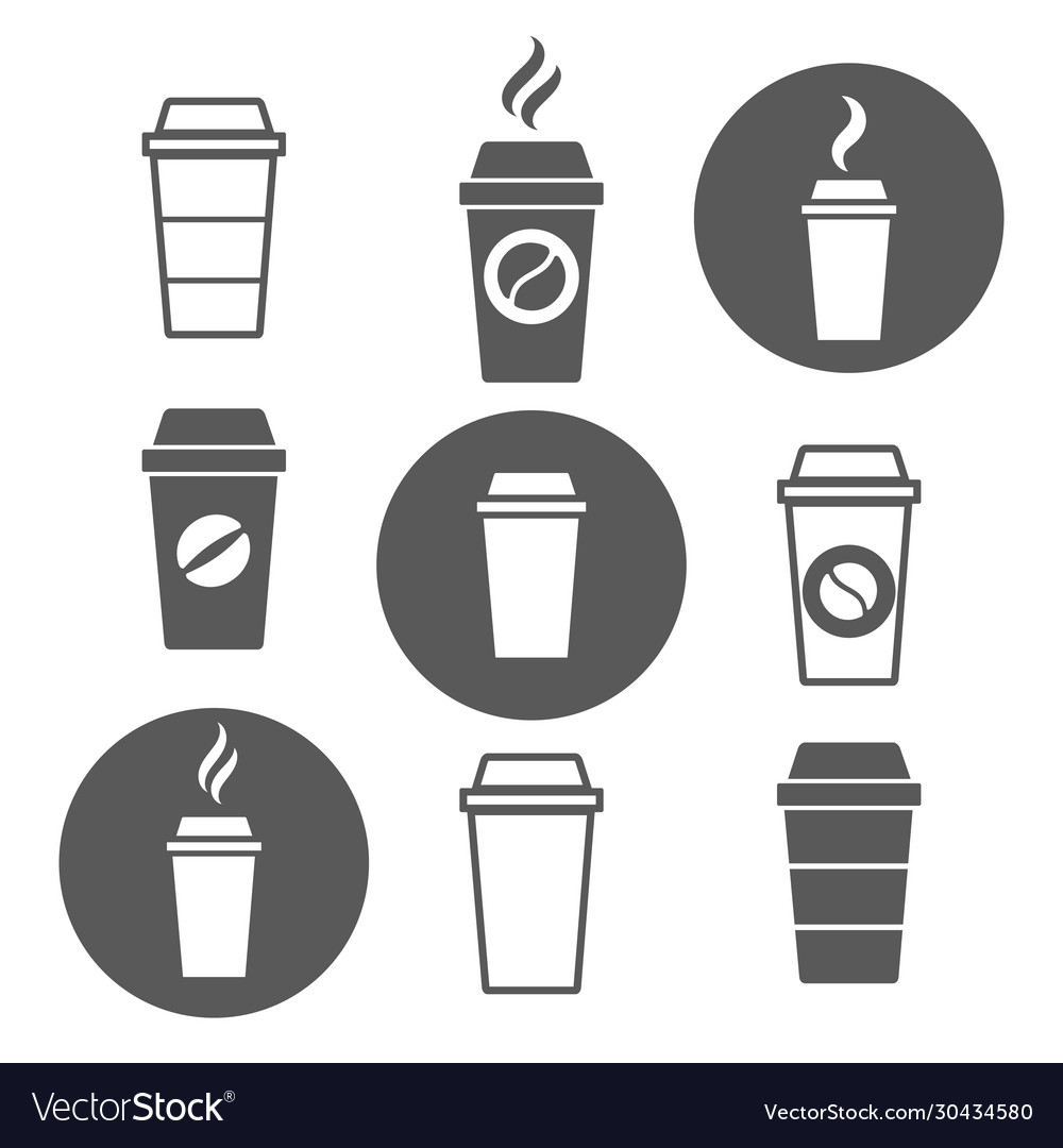 Paper coffee cup icons