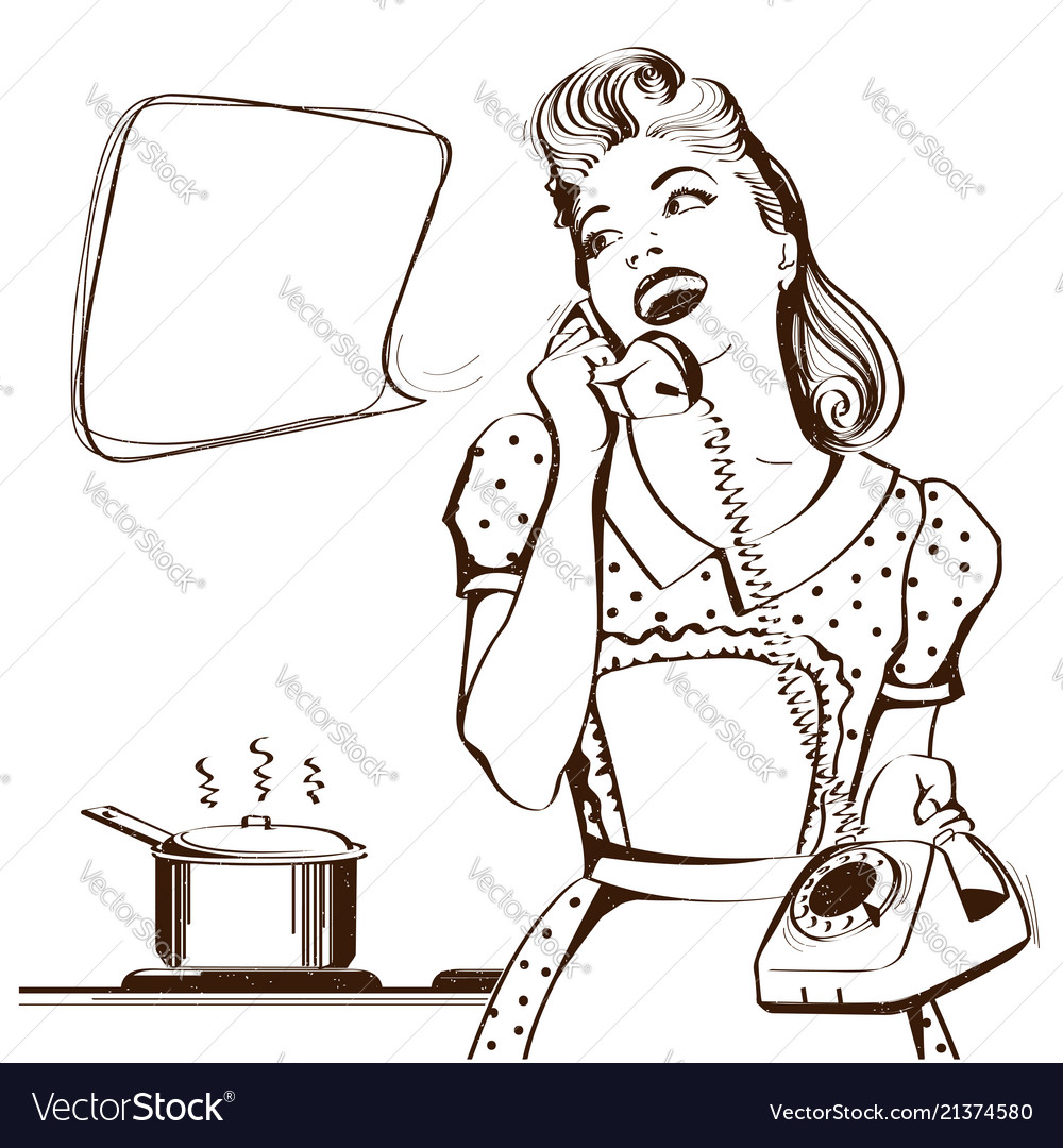 Retro young woman talking on phone in her kitchen