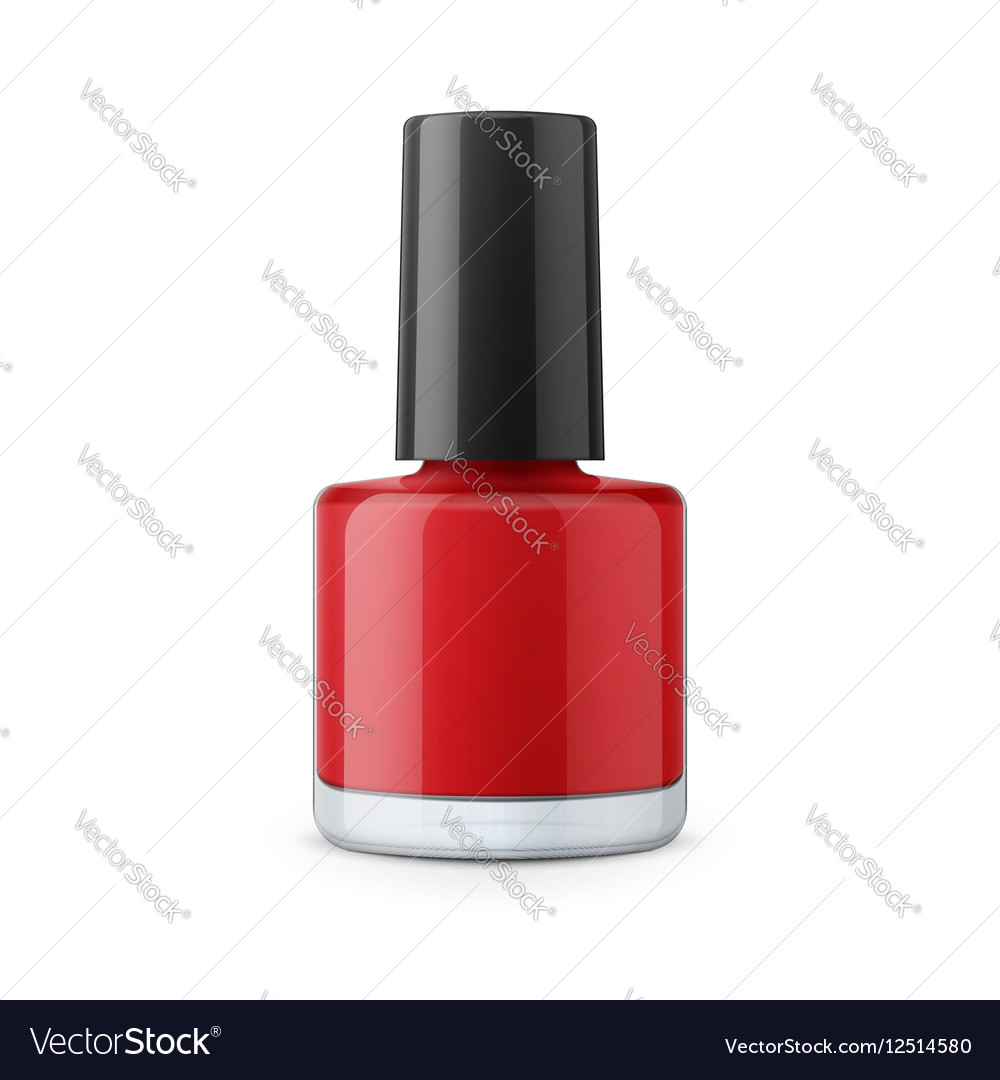 Round red glossy nail polish bottle Royalty Free Vector