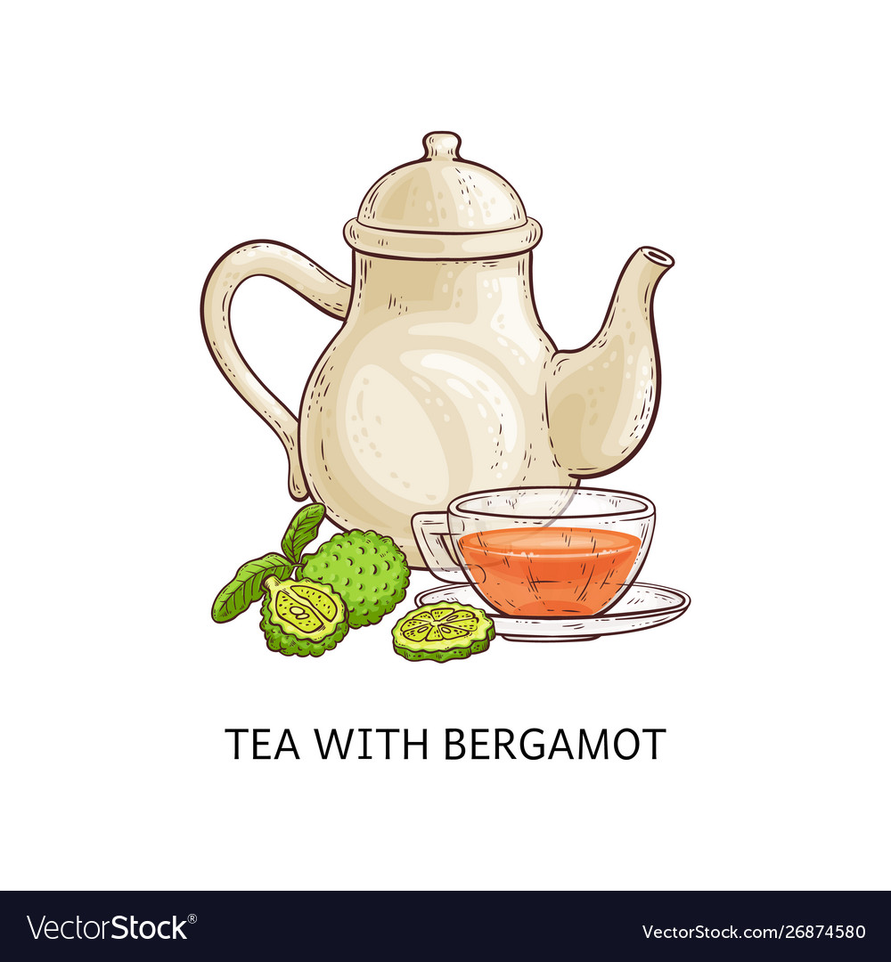 Tea with bergamot - healthy hot beverage in glass