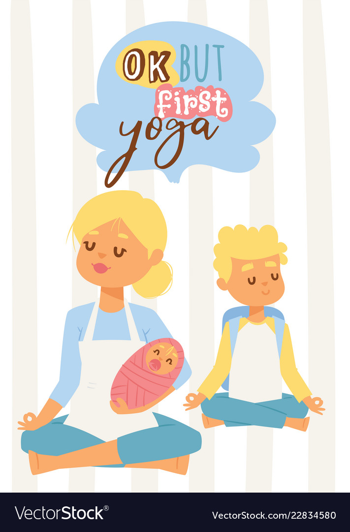Young woman with baby and teenage son meditating