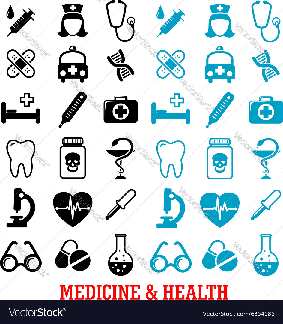Black and blue flat medical icons set