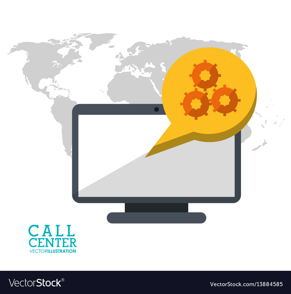 Call center technology computer digital support vector image