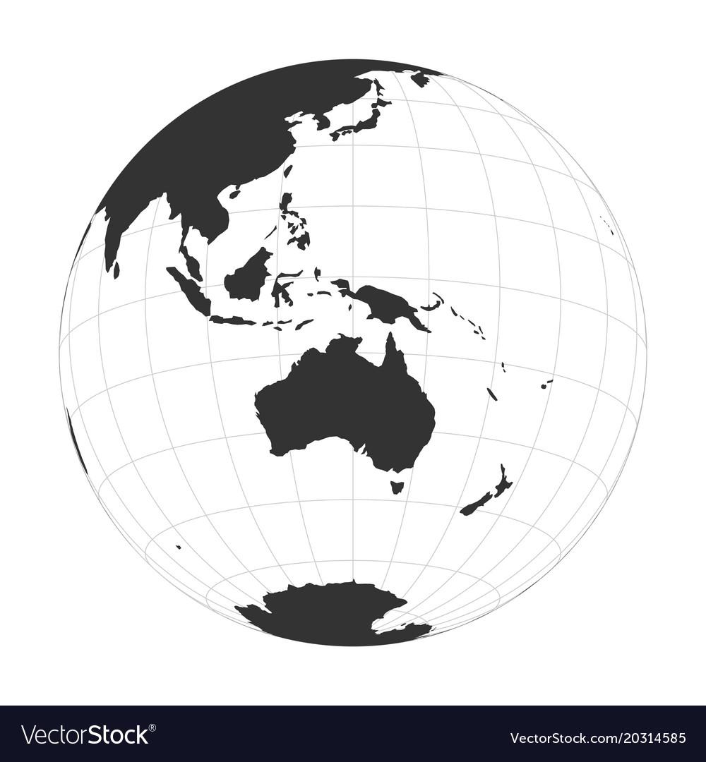 Earth globe focused on australia and vector image