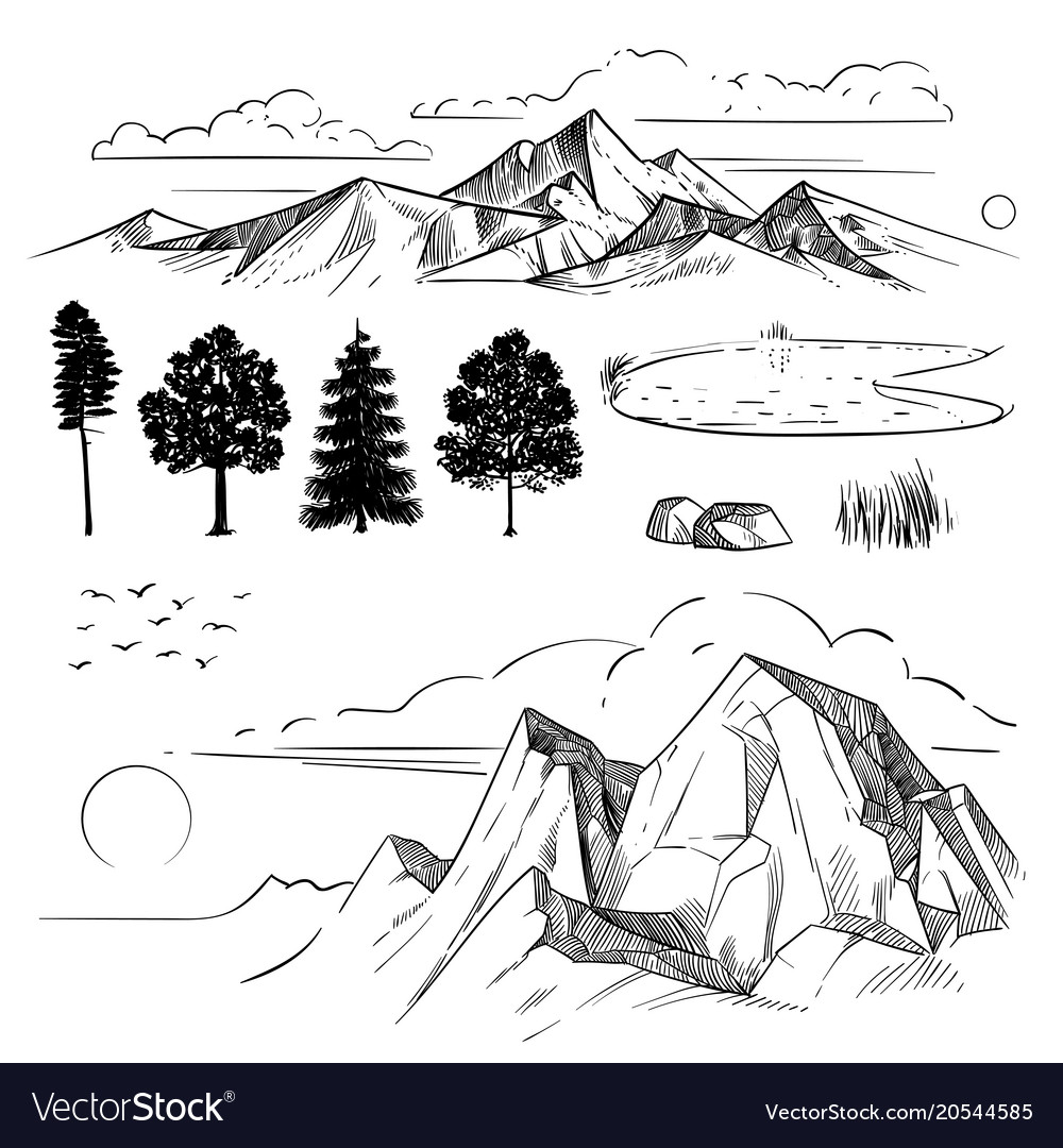 Hand drawing mountain range peaks clouds sun and