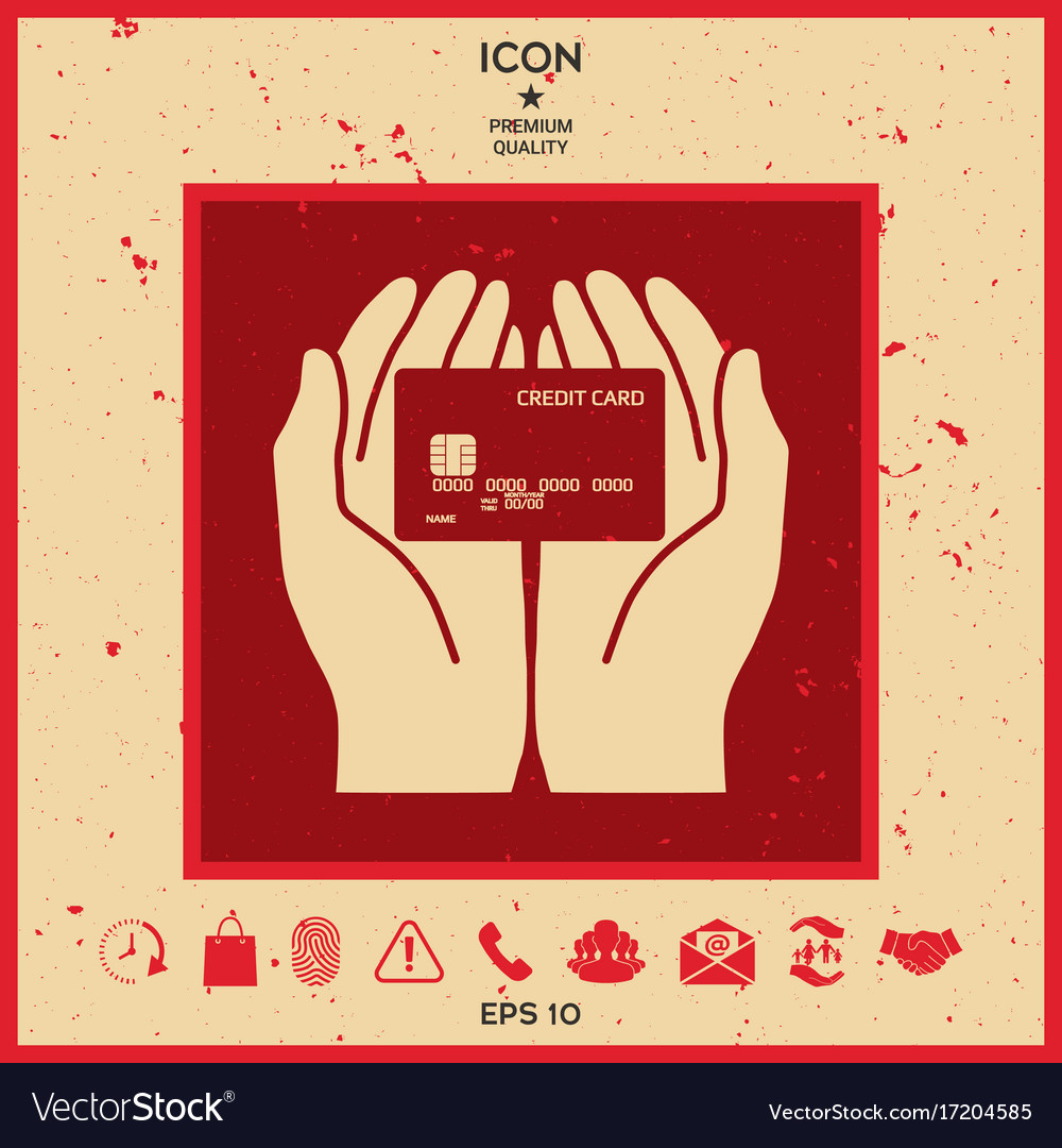 Hands holding credit card icon