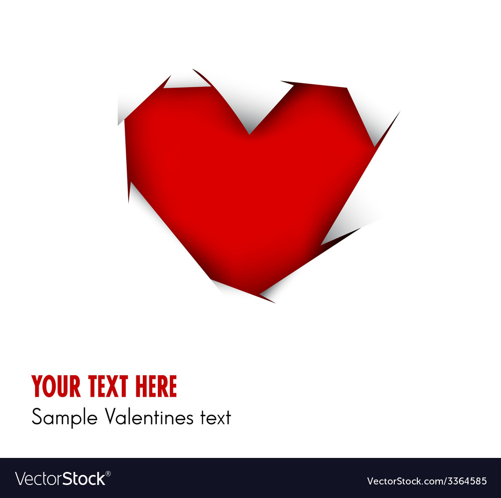 Heart cut out of white paper vector image