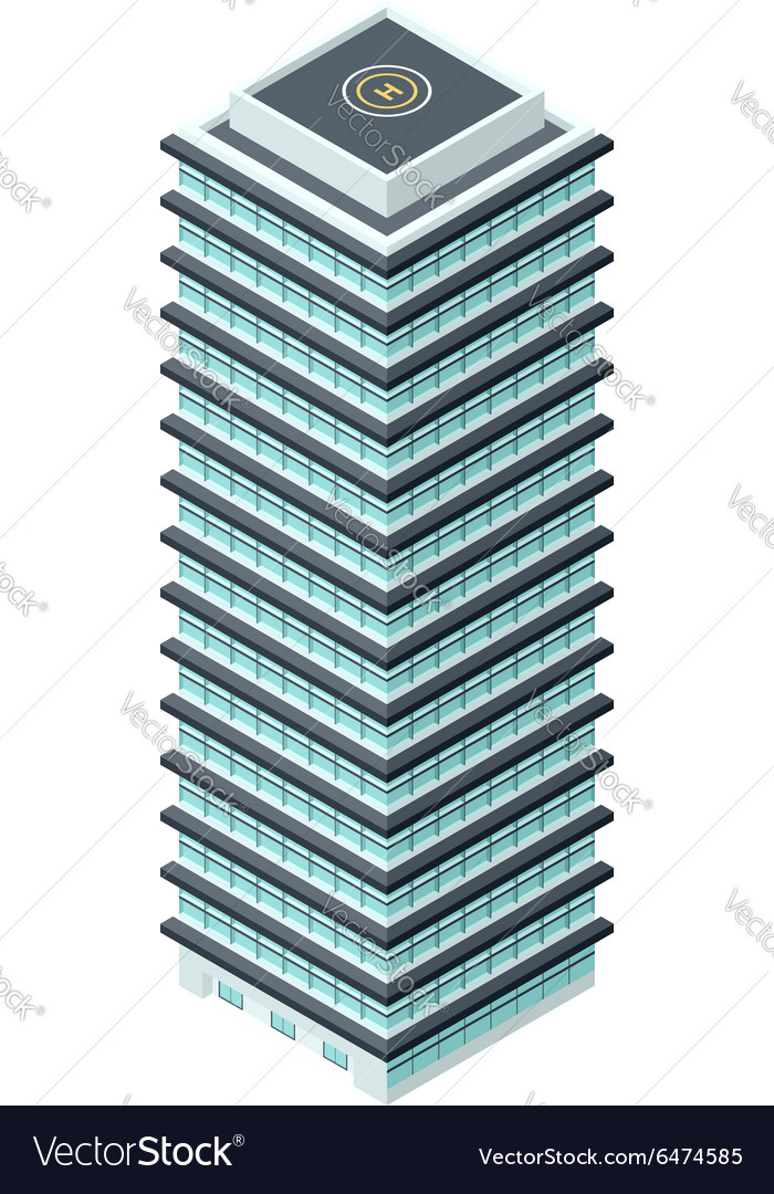 High-Rise Building in Isometric Projection vector image