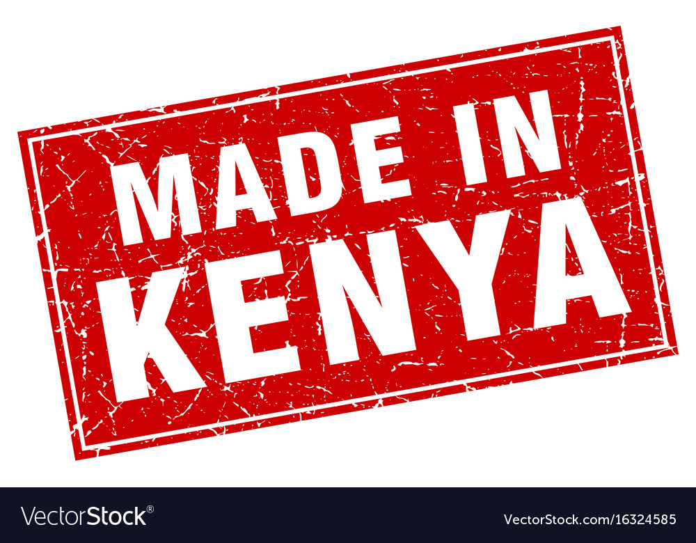 Kenya red square grunge made in stamp