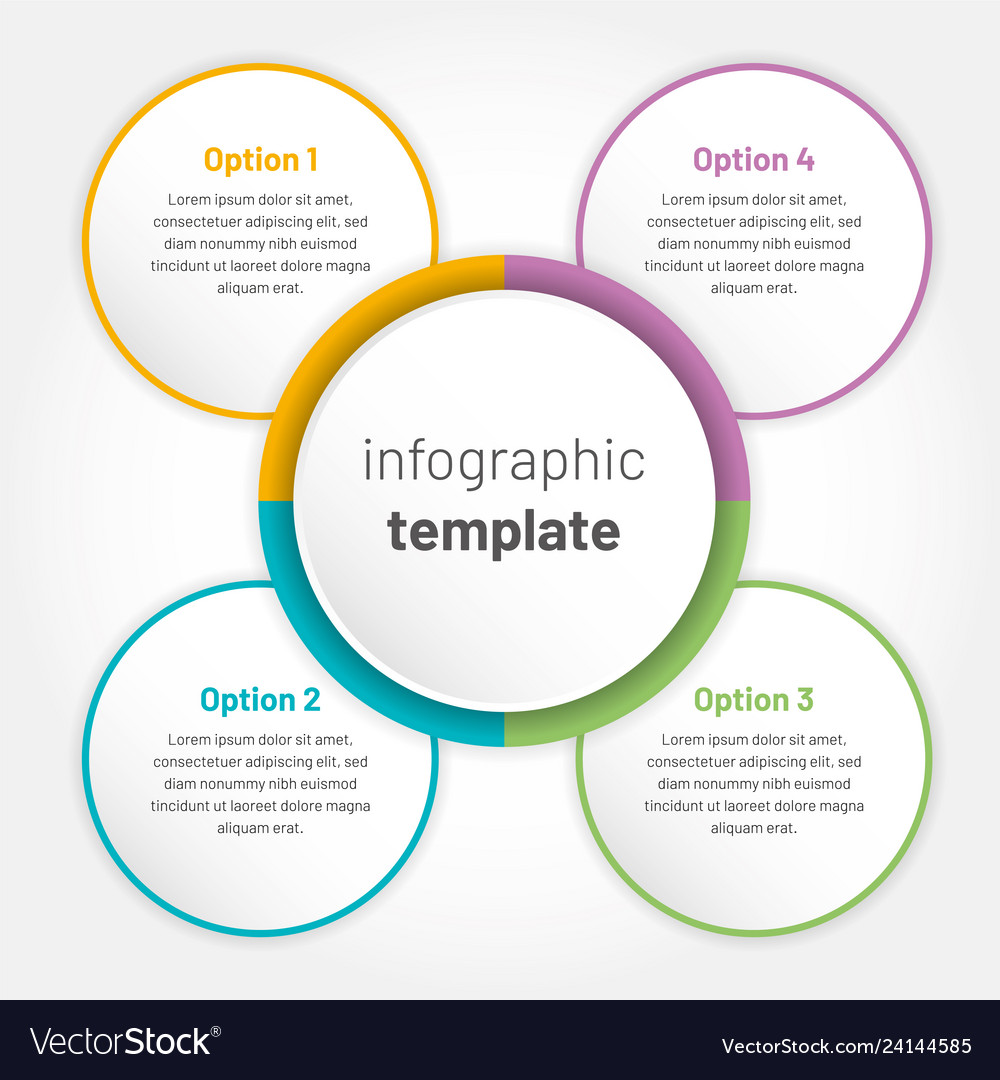 Modern infographic with 4 options circle template