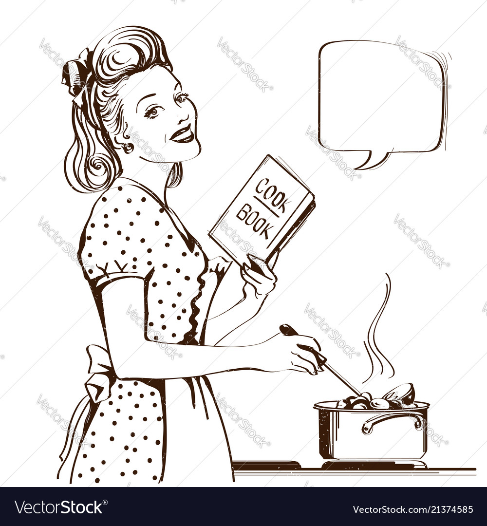 Retro young woman cooking soup in her kitchen